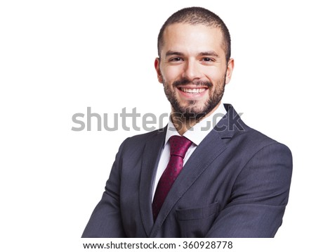 Smiling business man isolated on white background - stock photo