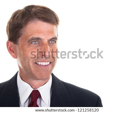 Smiling business man portrait isolated on white.