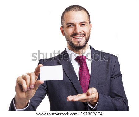 Smiling business man showing business card, isolated on white background - stock photo