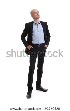 smiling business man standing full length isolated on white background - stock photo