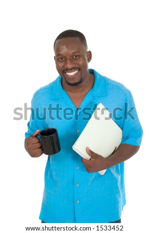 Smiling business man, teacher, professional medical doctor, or nurse relaxing with a cup of coffee and holding papers in a folder. - stock photo