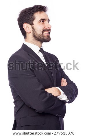Smiling business man thinking, isolated on white background