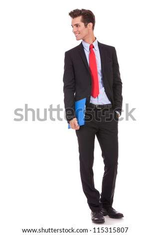 smiling business man with a clipboard looking to his right side on white background