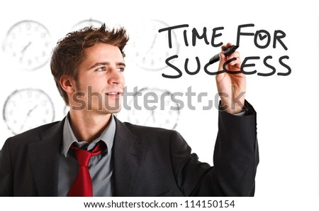 Smiling business man writing a business concept on the screen - stock photo