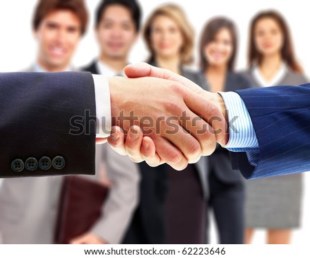 Smiling business people and business shake - stock photo
