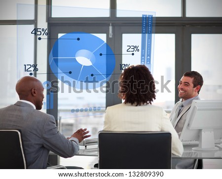 Smiling business people using blue pie chart on futuristic interface in a meeting - stock photo