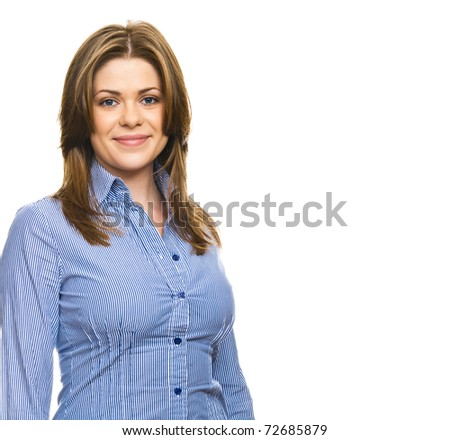 Smiling business woman  against white background.