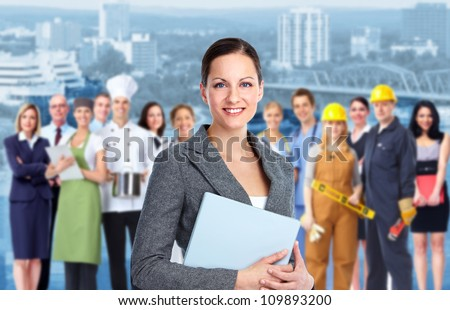 Smiling Business woman and Group of industrial workers. - stock photo