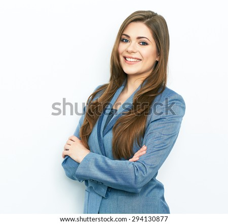 Smiling business woman blue suit dressed standing against white background with crossed arms. Copy space.
