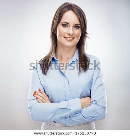 Smiling business woman , crossed arms. Young model. Isolated. - stock photo