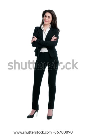Smiling business woman full length isolated on white background