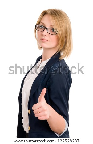Smiling business woman gesture shows okay isolated over white background