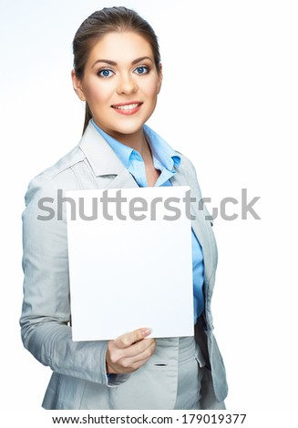 Smiling business woman hold blank board. Sign board. White background isolated.