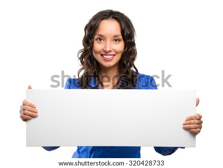 Smiling business woman hold white advertising board. White card. Isolated portrait.