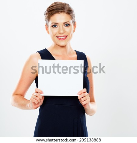 Smiling Business woman hold white card, white background  portrait. Sign board.