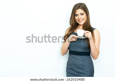 Smiling Business woman  hold white coffee cup. Business woman dress code. White background. Coffee break. Isolated. - stock photo