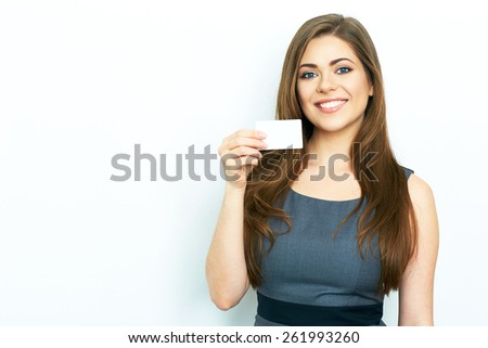 Smiling business woman hold white credit card. Isolated portrait. - stock photo