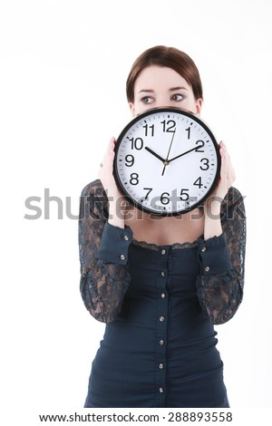 Smiling Business woman holding in hands clock, isolated on white background