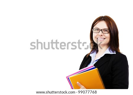 smiling business woman holding pads of notepaper on white background - stock photo