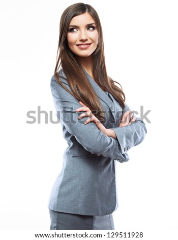 Smiling business woman, isolated on white background. crossed arms - stock photo