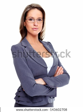 Smiling Business woman. Isolated over white background. - stock photo