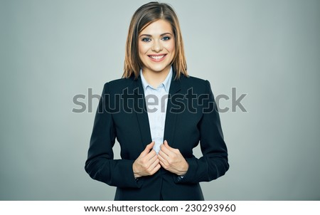 smiling business woman portrait in black suit. studio isolated. - stock photo