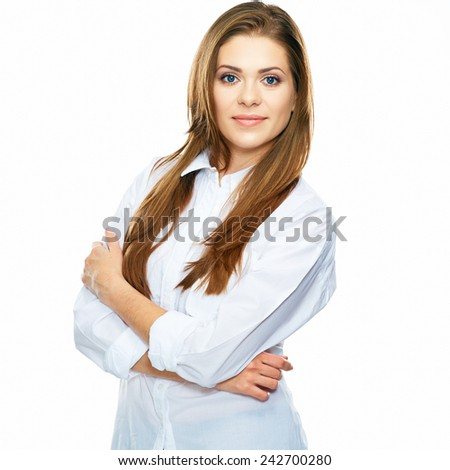 smiling business woman portrait isolated on white background. long hair, folded hands. - stock photo