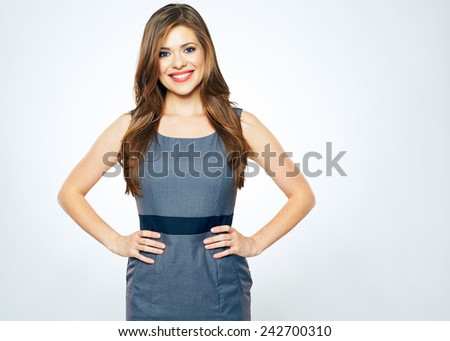 smiling business woman portrait studio isolated. female model with long hair. - stock photo