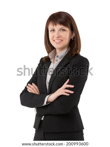 Smiling business woman showing confidence and happiness