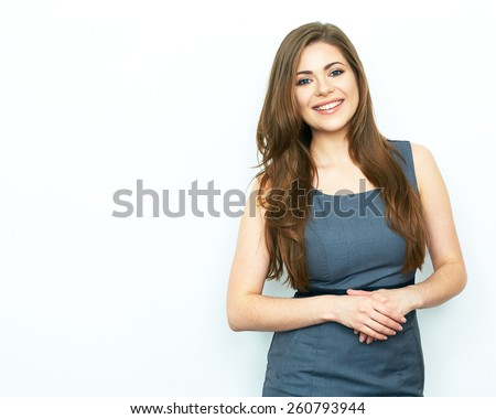 Smiling Business Woman standing against white background with folded hands. Female model. - stock photo