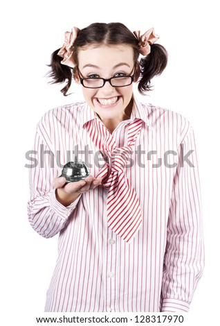 Smiling Business Woman Wearing Nerdy Glasses Holding Hotel Service Bell While Offering Smart Service On Clever Deals And Discounts - stock photo