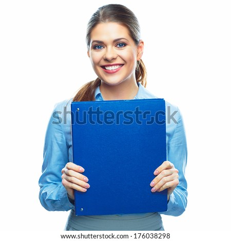 Smiling Business woman with business folder. Isolated white background portrait. - stock photo