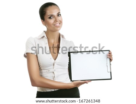 smiling business woman with folder on white background - stock photo