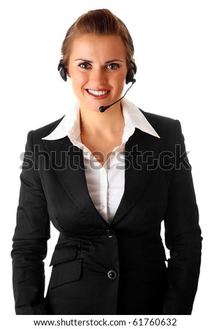smiling business woman with garniture