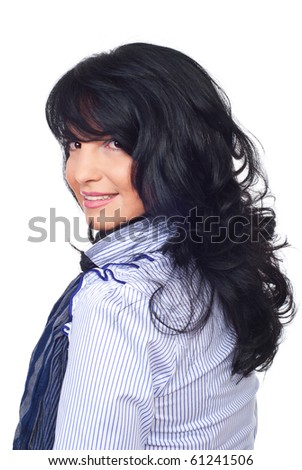 Smiling  business woman with hairstyle with bangs and curly hair standing in profile and looking over shoulder  isolated on white background - stock photo