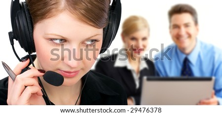 Smiling  business woman with headset in the office. Over white background