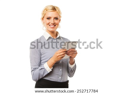 Smiling business woman with tablet computer. Over white - stock photo