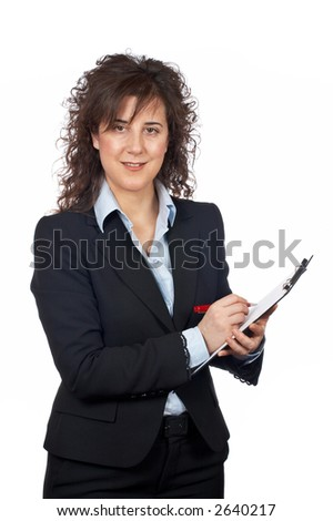 Smiling business woman writing over a white background