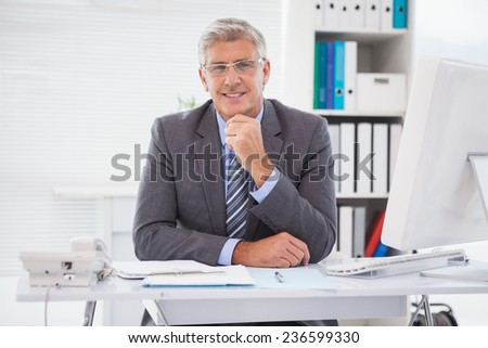 Smiling businessman at his desk in his office - stock photo
