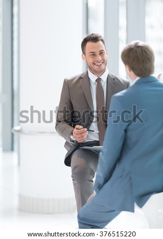 Smiling businessman at interview