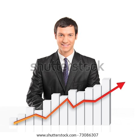 Smiling businessman behind a 3d rendered financial graph isolated on white background - stock photo