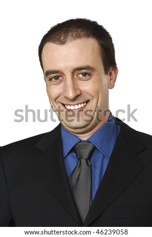 smiling businessman fine portrait isolated on white background