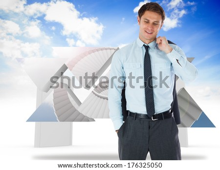 Smiling businessman holding his jacket against closed and open doors in sky