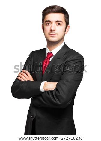 Smiling businessman isolated on white - stock photo