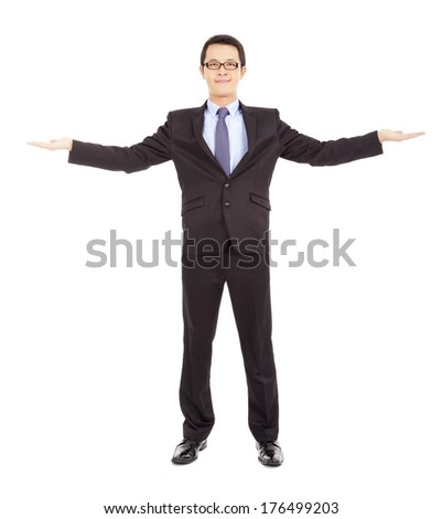 smiling  businessman opening arms to welcome