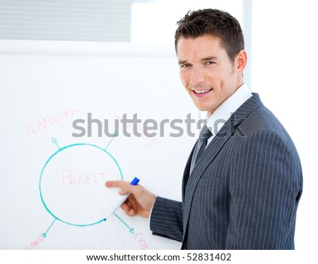 Smiling businessman pointing at a white board in a meeting