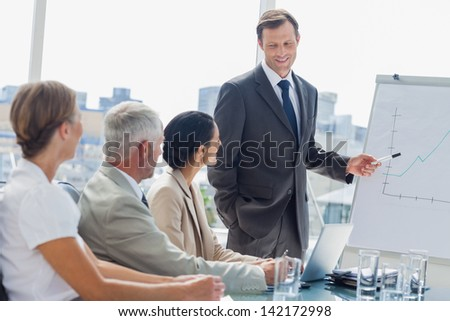 Smiling businessman pointing at whiteboard during a meeting with colleagues listening to him