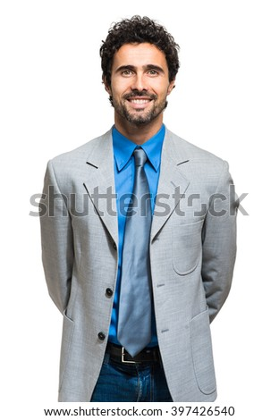 Smiling businessman portrait on white background - stock photo