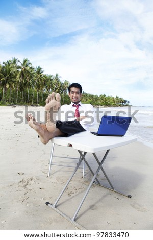 Smiling businessman relaxing with laptop at beach