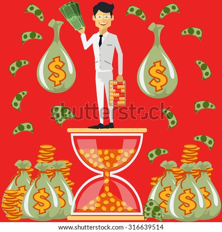 Smiling businessman standing on hourglass in which coin holding dollars near bags money. Winnings in lottery. Time is money concept. Flying around dollar notes cartoon red flat design. Raster version - stock photo